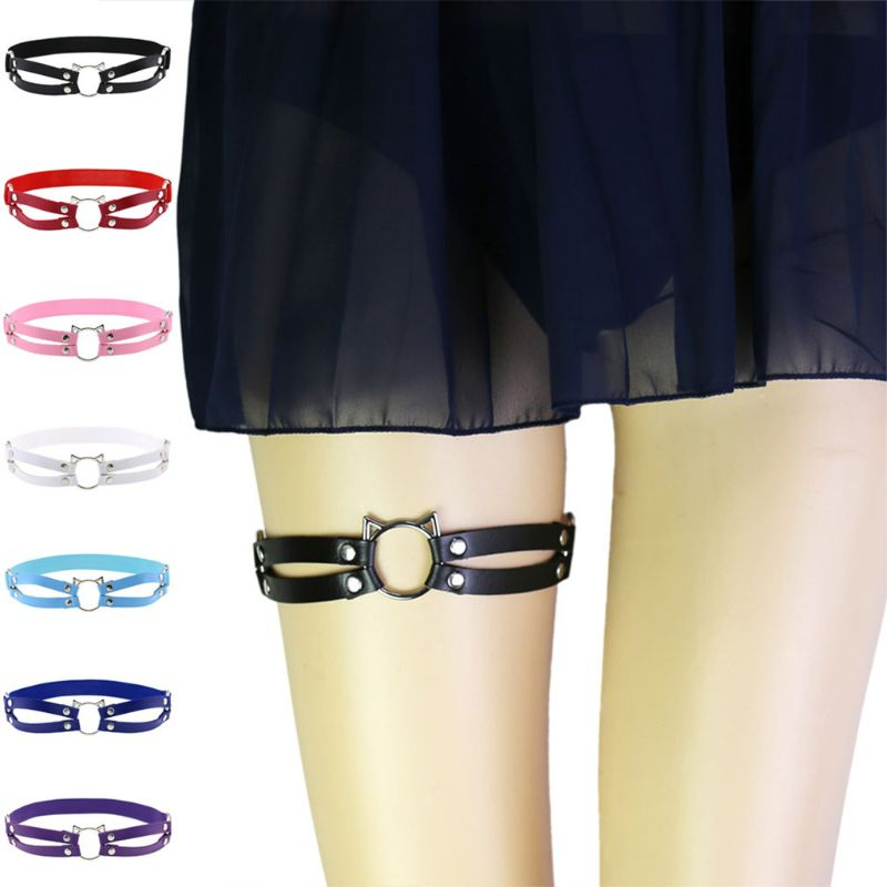 Womens Sexy Faux Leather Leg Belt Hollow Out Cat Anti-Slip Thigh Ring Harness
