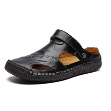New Genuine Leather Men Sandals Shoes Summer man Leisure Beach mens shoe High Quality Sandals Slippers Bohemia Big Size 38-48 все цены