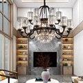 Lampadario di Cristallo moderno Salotto Sala Studio Semplice Atmosferica Villa Ristorante Americano Hall Hotel di Vetro Nero di Base Lampade