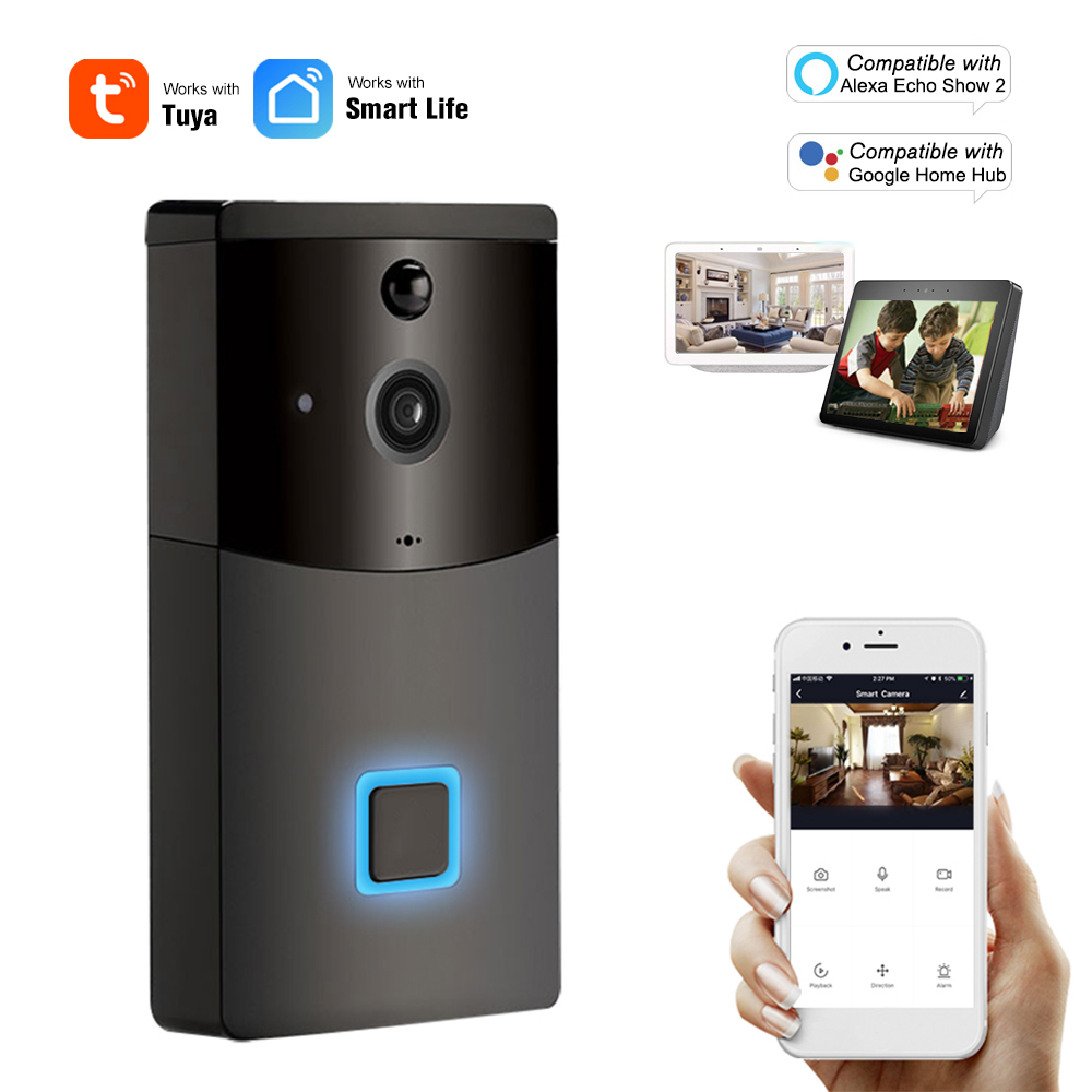Умный видеодомофон с Wi-Fi, 1080P, совместим с Alexa Google Home