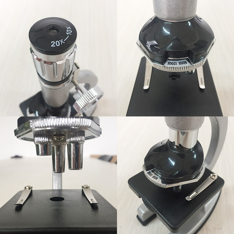Tools : 1200X Illuminated Present Microscope Zoom Monocular Biological Microscope Present Gift Educational Toy Microscope Metal Body