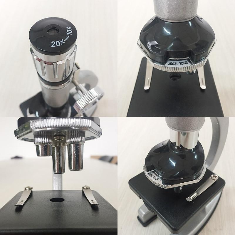 Tools : 1200X Illuminated Present Microscope Zoom Monocular Biological Microscope Present Gift Educational Toy Microscope Metal Body