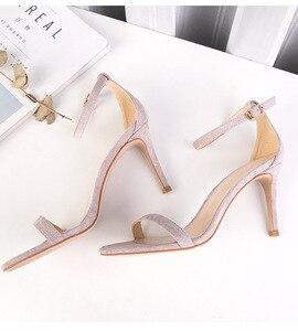 Image 4 - 2020 קיץ נשים של סנדלי נעלי אישה 8.5cm דק עקבים גבוהים פלוק מוצק קרסול רצועות צר אלגנטי קלאסי משרד ליידי משאבות