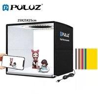 PULUZ-caja de luz plegable de 25cm Mini caja de luz de estudio fotográfico iluminación de fotografía, juegos de tienda de tiro y 6 papeles de fondo/12 colores