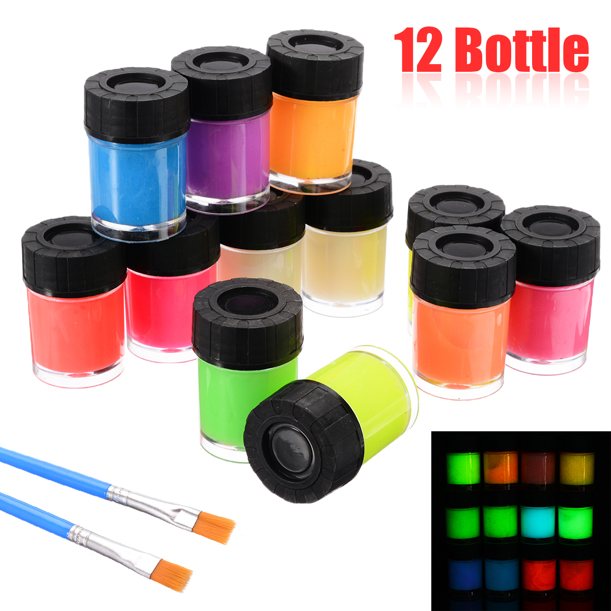 12 Bottle Fluorescent Paint New Neon Luminous Acrylic Paint Glow In The Dark Pigment Set & 2 Brush For Paper Plaster Walls