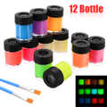 12 Bottle Fluorescent Paint New Neon Luminous Acrylic Paint Glow in the Dark Pigment Set & 2 Brush For Paper Plaster Walls