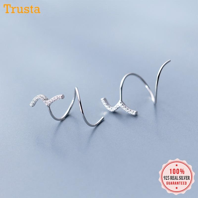 Trustdavis 100% 925 Sterling Silver Women's Jewelry CZ Stones Ear Bones Ear Buckle Curve Earrings 925 Silver Wholesale DS1423