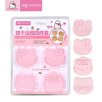 Hello Kitty Cute Cartoon Three-dimensional Cake Cookie Pressing Mold Four Piece Set Pink Kawaii Cake Cookie Stamps Baking Moulds