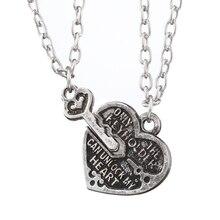 Collar de corazón caliente con letras que solo el llavero puede desbloquear el collar y el colgante de mi corazón para los regalos del novio de la novia