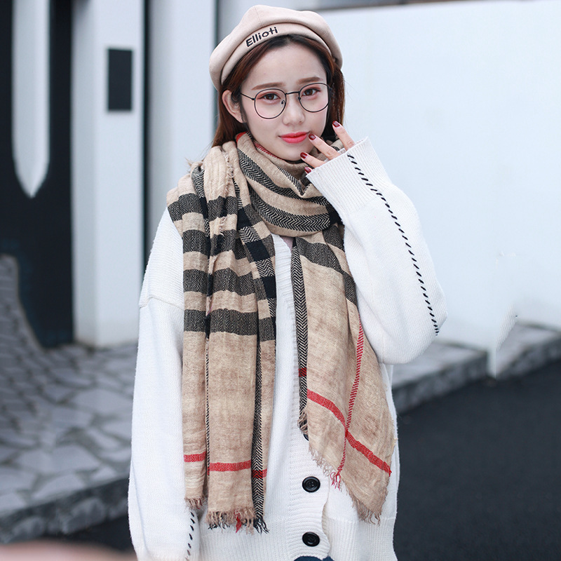 New Style Scarf Cotton Linen Baba Lattice Classic Europe And America Japanese Korean Warm Scarf Couples Shawl