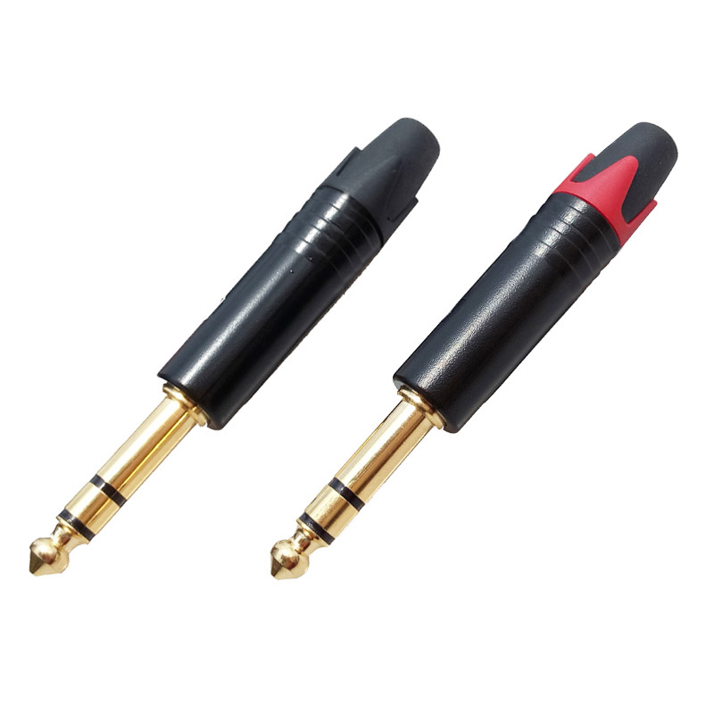 100pcs/lot 6.35mm Connector 1/4 Inch 3 Poles Stereo Male Plug Zinc Alloy Tube Gold Plated Plug Microphone Cable Connector-in Connectors from Lights & Lighting    2