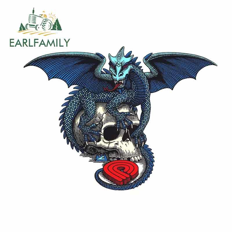 EARLFAMILY 13cm x 9.8cm For Powell Peralta Dragon Skull Fine Decal Scratch-Proof Sticker Vinyl Car Wrap Suitable For VAN RV