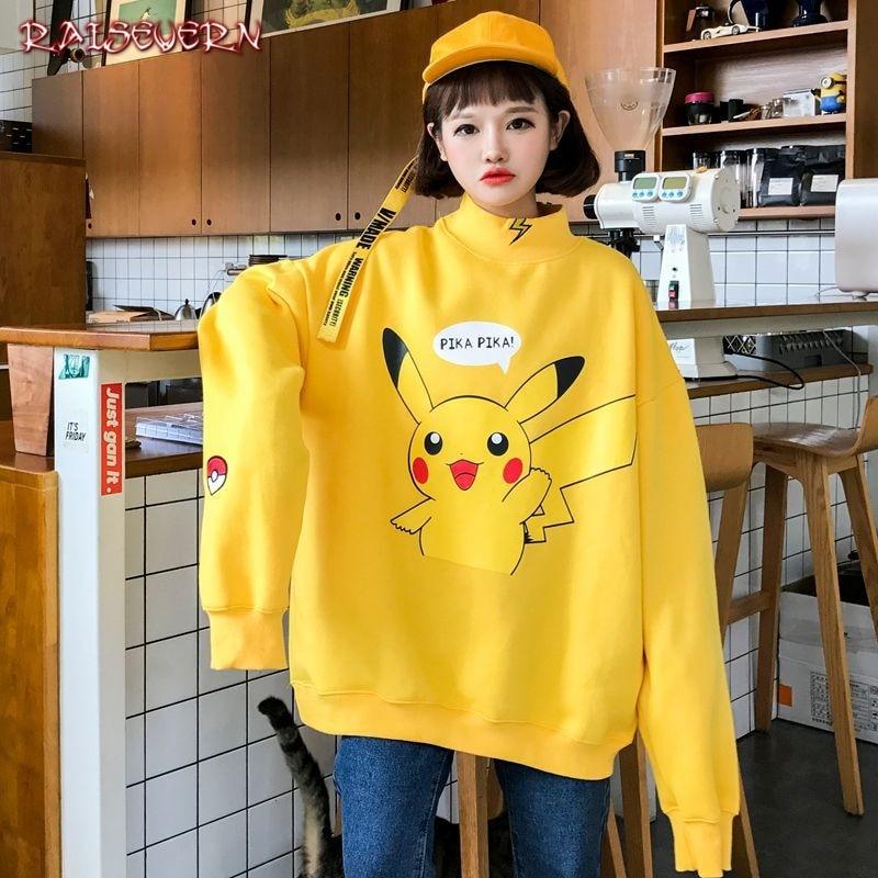 RAISEVERN Pikachu Women Japan Cute Sweatshirt Korean Harajuku Long Sleeve Sweatshirt Winter Harajuku Hoodie Streetwear Females