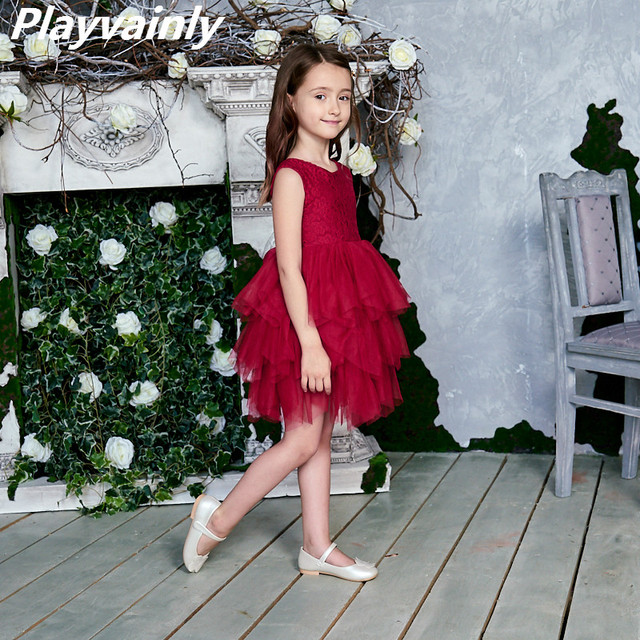 2020 New Lace Tulle Girls Dress Kids Princess Dresses for Girl Party Wedding Dress With Sash Baby Clothes 1 6Y E1953