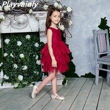 2020 Новое Кружевное платье для девочек из тюля, детские платья принцессы для девочек, вечерние платья на свадьбу с поясом, одежда для малышей, От 1 до 6 лет, E1953