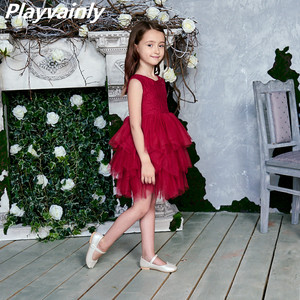 Image 1 - فستان جديد 2020 للفتيات من التول والدانتيل فساتين الأميرة للأطفال فستان حفلات الزفاف للبنات مع وشاح ملابس الطفل 1 6y E1953