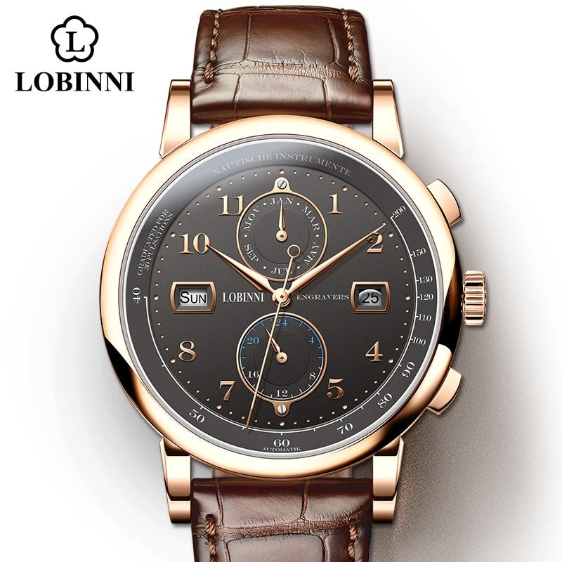 LOBINNI Luxury Brand Seagull Automatic Mechanical Movement Genuine Leather Male Wristwatch Sapphire Waterproof Man Watch