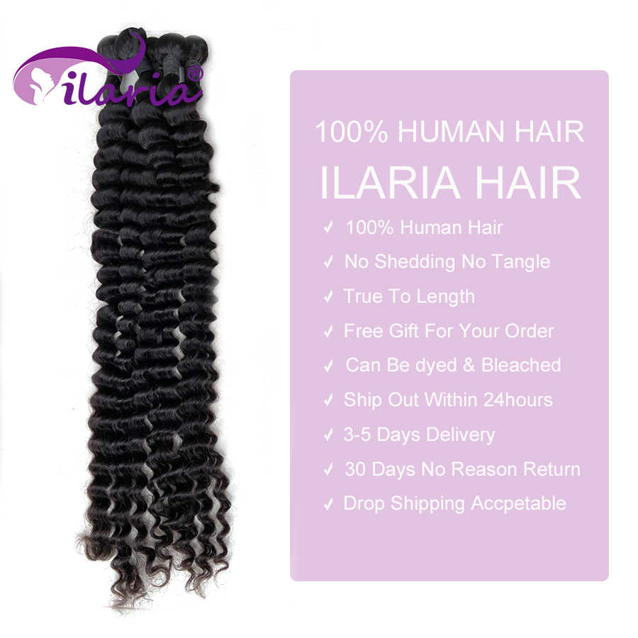 Extensiones de cabello humano rizado de 30, 32, 34, 36, 38 y 40 pulgadas con cierre 100% cabello brasileño ondulado, 3 4 manojos con cierre de encaje
