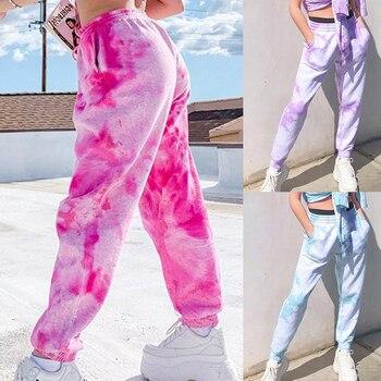 Tie Dye Print Baggy Women Jogger Sweatpants Casual Loose Elastic High Waist Harem Pants Female Hip Hop Streetwear