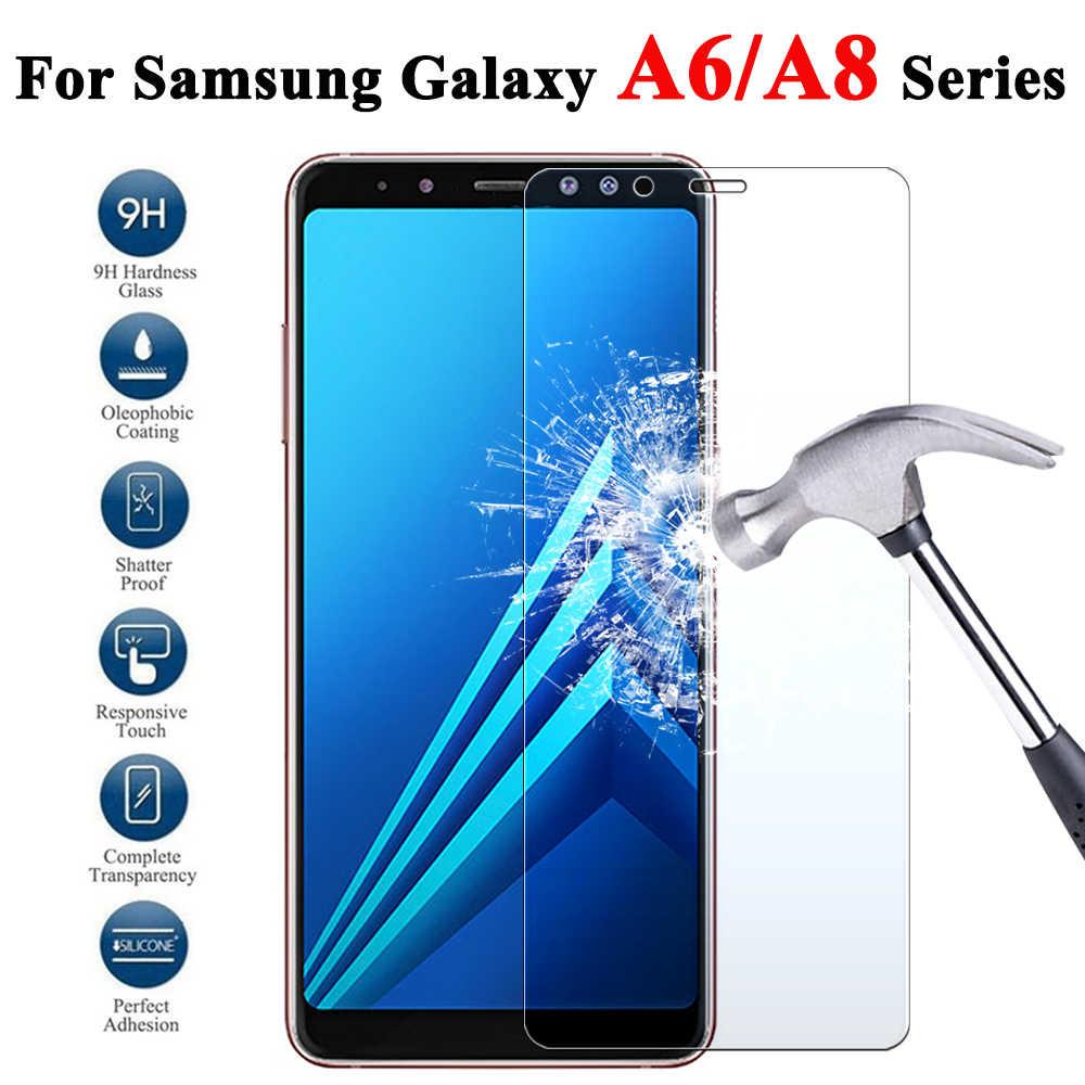 المدرعة زجاج واقي على لسامسونج غالاكسي A8 A6 بالإضافة إلى 8 6 ورقة Screenprotector درع خفف غلاس 8a Gelaksi 6a