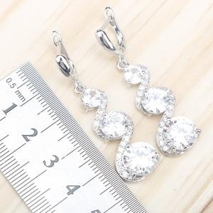 Image 5 - Женские Ювелирные наборы из серебра 925 пробы с белым цирконием, серьги с камнями, ожерелье, серьги, кольца, браслеты, подарочная коробка