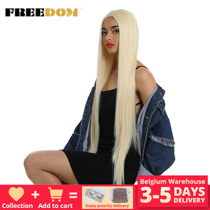 Image 1 - FREEDOM Synthetic Lace Front Wig For Black Women Supper Long 38Inch Ombre Blond 3 Color Natural Straight Hair Wigs Cosplay Wigs