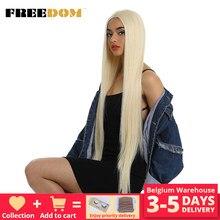 FREEDOM-pelucas de encaje sintético para mujeres negras, pelo liso Natural de 38 pulgadas, Rubio degradado, Color arcoíris, Cosplay