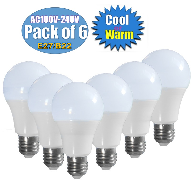 E27/B22 6pc/lot LED Bulbs AC 100V- 240V Down Lights Home Constant Current Voltage Interior Lamp SMD2835  Cool White/Warm White