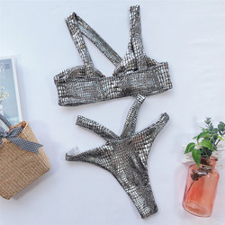 Bandaż stroje kąpielowe brazylijski strój kąpielowy bikini strój kąpielowy damski Push Up Monokini lato odzież plażowa sport Trikinis Mujer 4