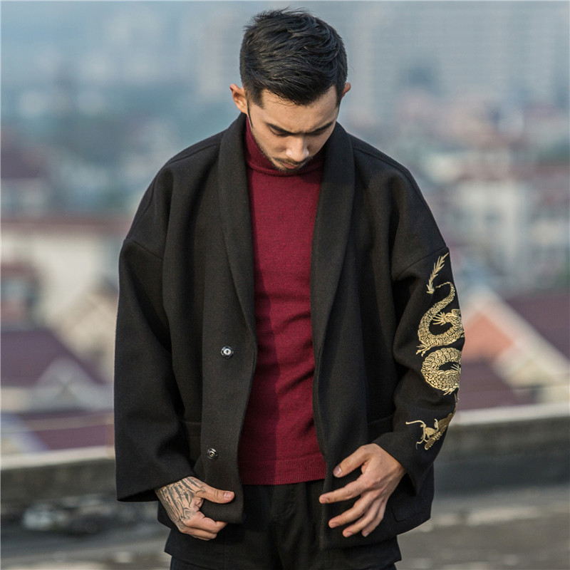 Chinese style dragon embroidery coat loose large size men's autumn and winter woolen coat kimono robes jacket