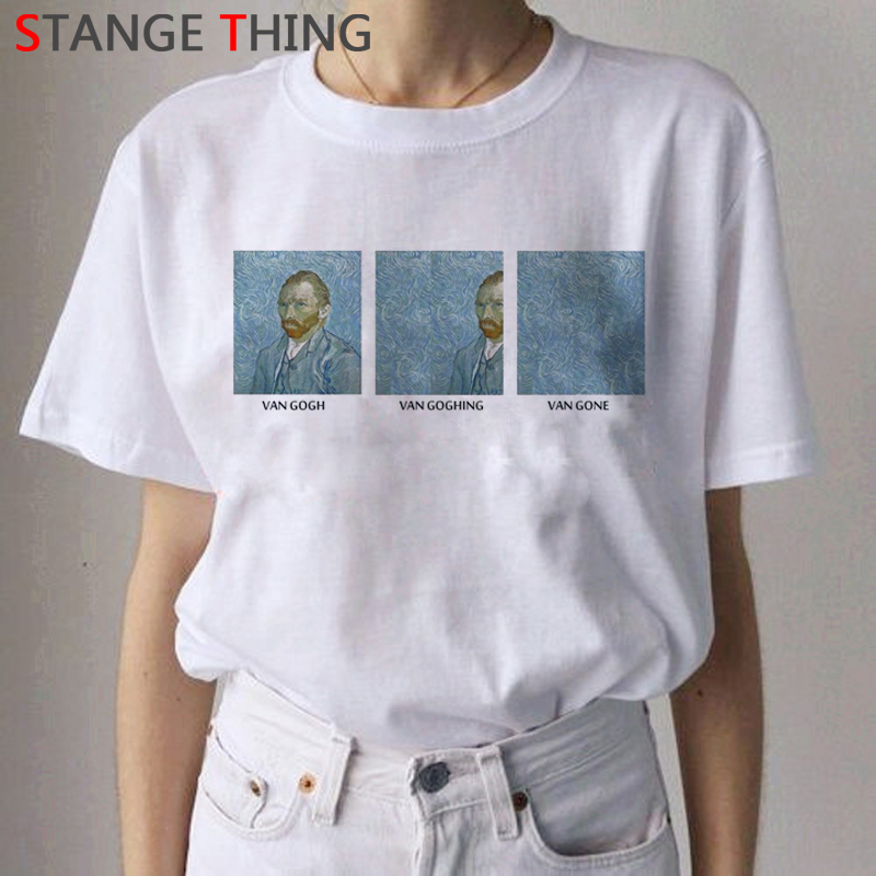 2020 Van Gogh Cat Oil Art Painting T Shirt Women Harajuku Ullzang 90s T-shirt Aesthetic Van Gone Tshirt Graphic Top Tee Female