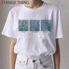 2020 Van Gogh Cat Oil Art Painting T Shirt Women Harajuku Ullzang 90s T-shirt Aesthetic Van Gone Tsh