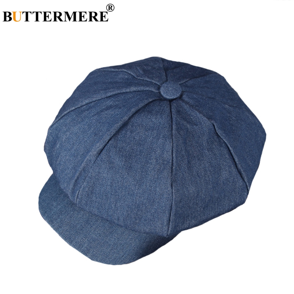 BUTTERMERE Men Denim Newsboy Caps Female Spring Vintage Painters Hat Octagonal Driving Casual Gatsby Cotton Ivy Cap And Hats