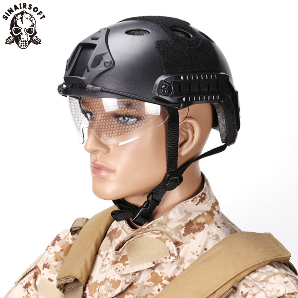 SINAIRSOFT Military Protection FAST Helmet With Protective Gear Goggle PJ Type Helmet Jump Tactical Helmet Airsoft Sports Safety