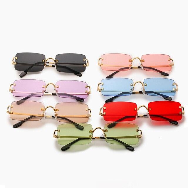 Фото прямоугольные узкие маленькие солнцезащитные очки без оправы