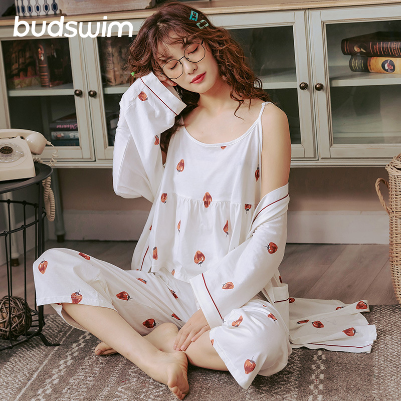 pajamas sets women printing sleepwear Pajamas autumn ladies sexy sling three-piece cotton long-sleeve homewear pajama