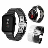 Ceramiczny pasek do zegarków dla Huami Amazfit Bip pasek Xiaomi Amazfit tempo Stratos bransoletka ceramiczne pasek 20mm 22mm zegarka Huawei gt magia