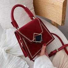 Bolso cruzado de cuero PU pequeño con diseño de piedra para mujer, bolso de hombro de lujo, sencillo, 2020