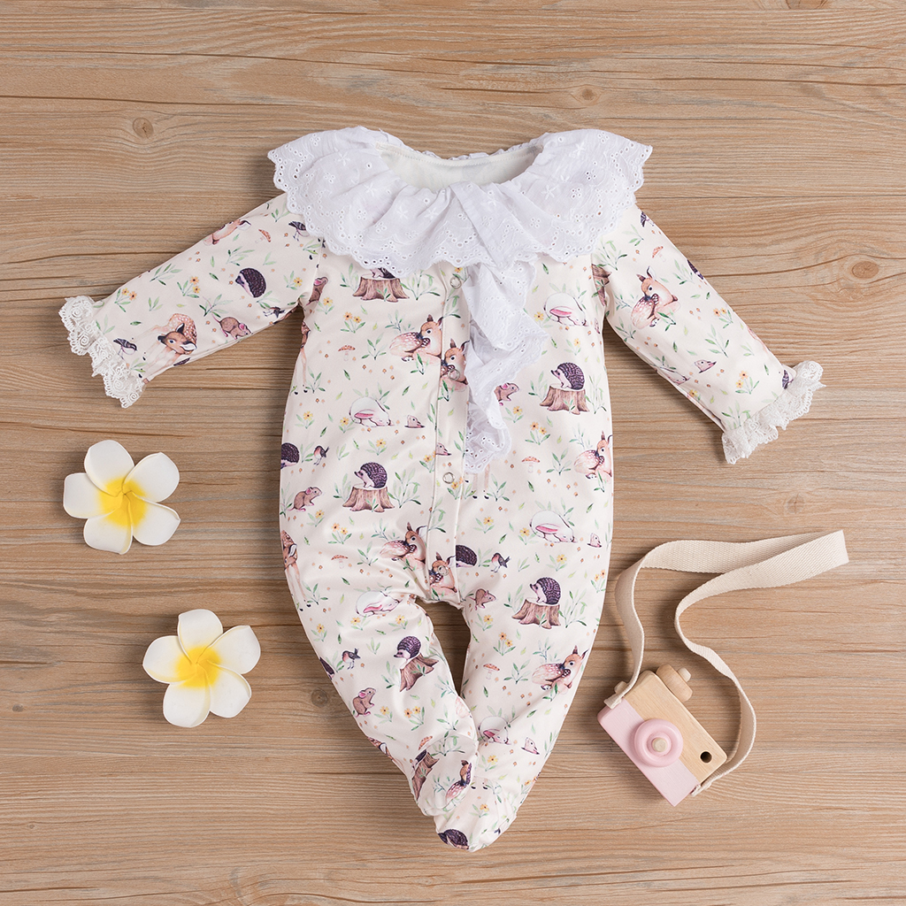 Pudcoco Newborn Baby Girl Clothes Flower Print Long Sleeve Lace Ruffle Peter Pan Collar Romper Jumpsuit One-Piece Clothes