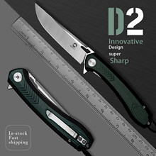 D2 Tool Steel Folding Pocket Knife with Clip Green G10 Handle EDC Knives for Fruit Cutting Outdoors Self Defense Peeler Hunting