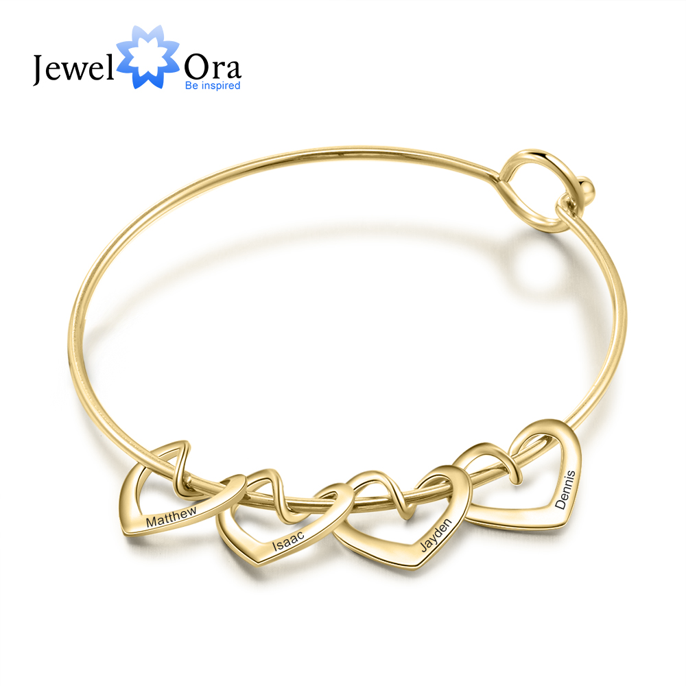 JewelOra Personalized Engraving Name Heart Charms Bracelets for Women Stainless Steel Customized Bangle DIY Jewelry Gift for Her 1