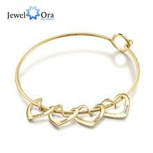 Bijoux personnalisés gravure nom coeur breloques Bracelets pour femme acier inoxydable bracelet personnalisé bijoux à bricoler soi-même cadeau pour elle