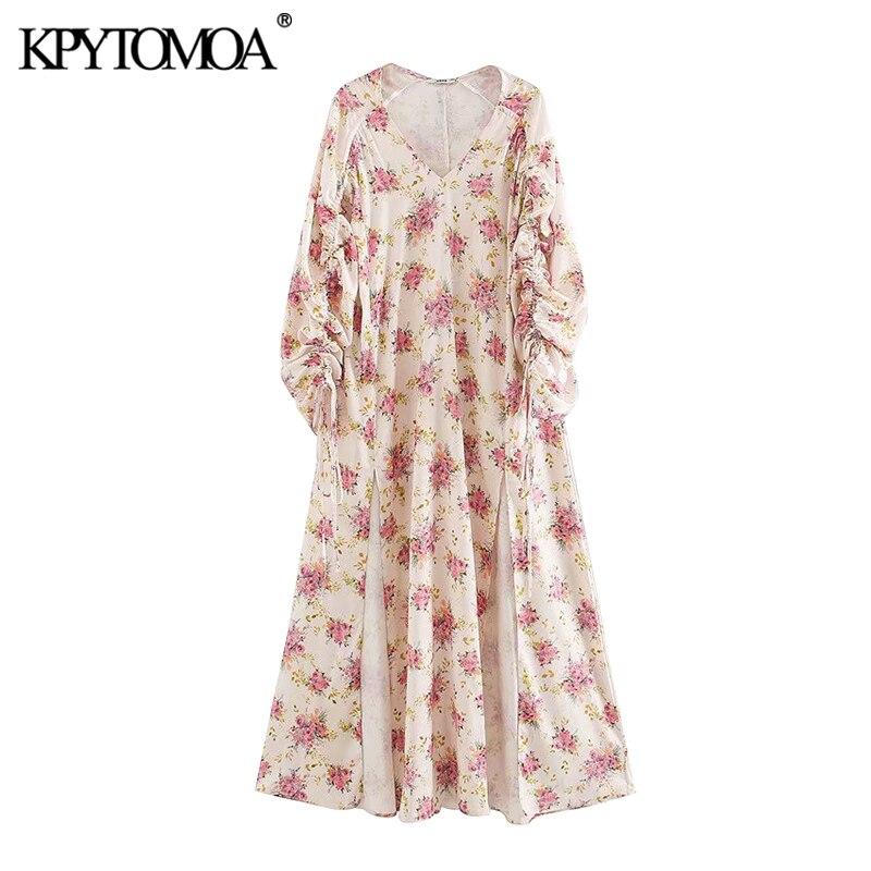 KPYTOMOA Women 2020 Chic Fashion Floral Print Midi Dress Vintage Drawstring Three Quarter Sleeve Slit Female Dresses Vestidos
