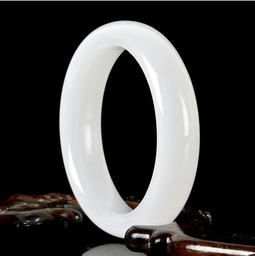 Genuine Natural White Jade Bangle Bracelet Charm Jewellery Fashion Accessories Hand-Carved Lucky Amulet Gifts for Women Her Men