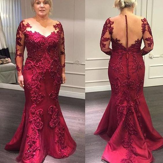 Cheap Red Mother Of The Bride Dresses Evening Appliques Beaded Plus Size O-neck Lace Long Sleeves Mermaid Gowns abito sposa
