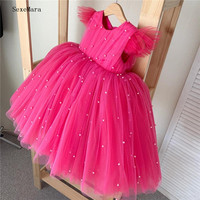 Rose Red Puffy Tulle Pearls Baby Infant Girls Birthday Dresses Crew Ball Gown Little Girls Communion Pageant Dresses Headpiece