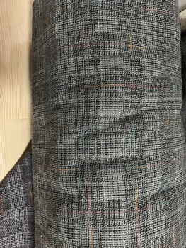 Free ship fast shipment 40% wool fabric gray and black check tweed fabric