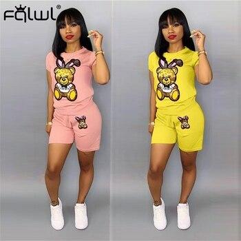 FQLWL мультяшный принт неоновый розовый летний клубный комплект из 2 предметов женский костюм длинная футболка шорты Комплект женский спортивный костюм подходящие комплекты