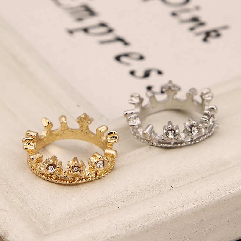 Nuevo Anillo de corona de perforación de destello de moda brillante elegante anillo de belleza bonito anillo de diamantes de imitación de cristal de corona de plata de oro bonito