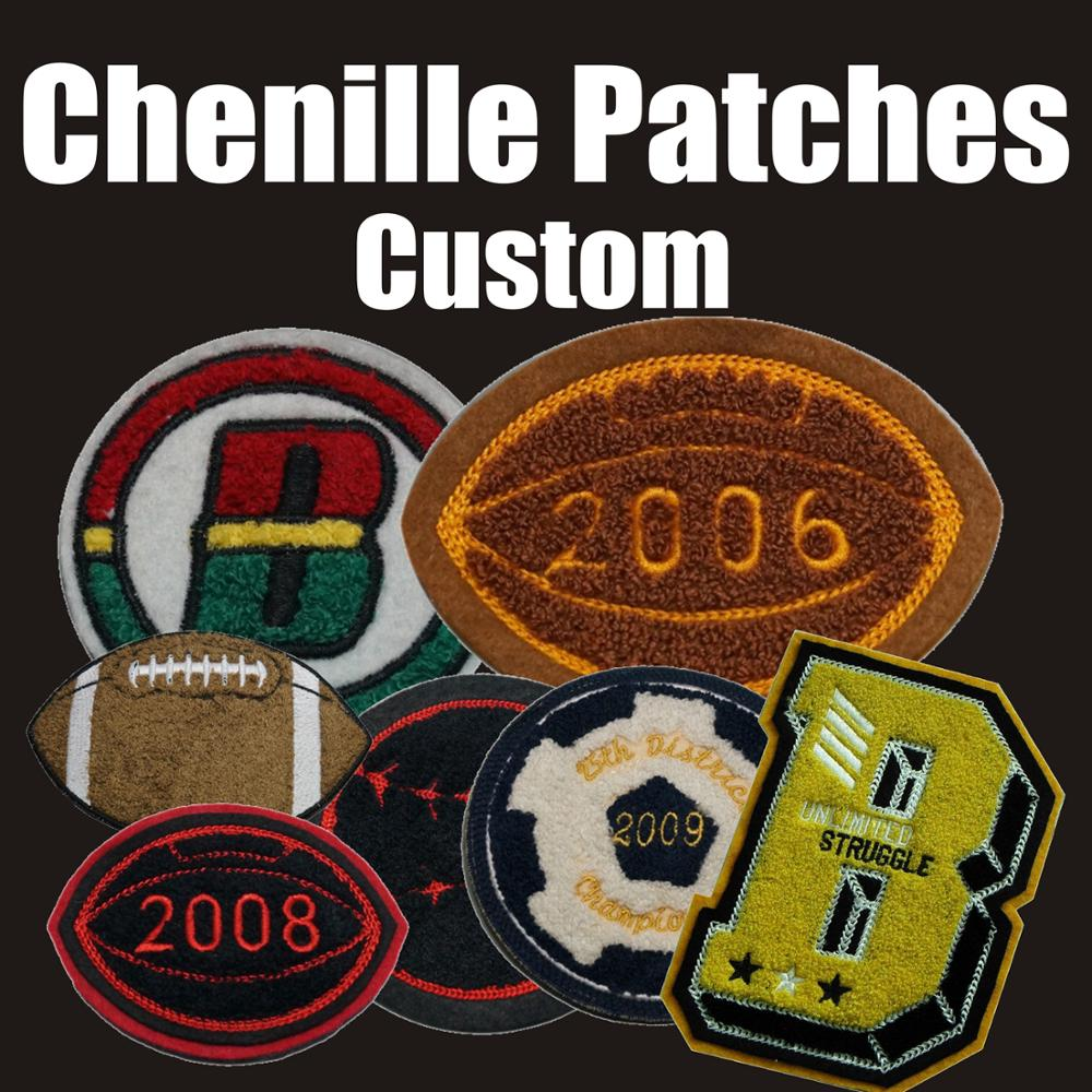 High Quality Custom Chenille Patches Letters Patches For Hoodie Stick-on Backing Name Chenille Patches